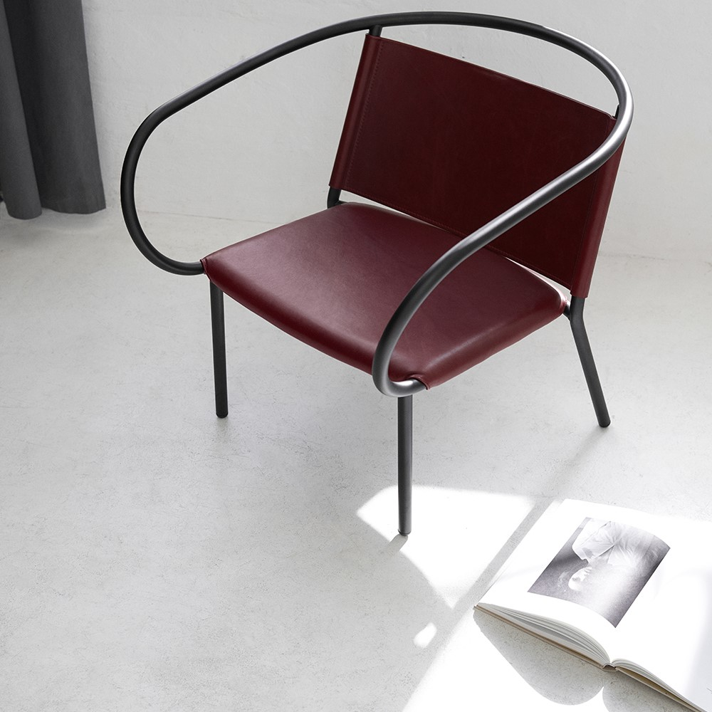 Menu Space Afteroom Lounge Chair crafted with red Sørensen Leather