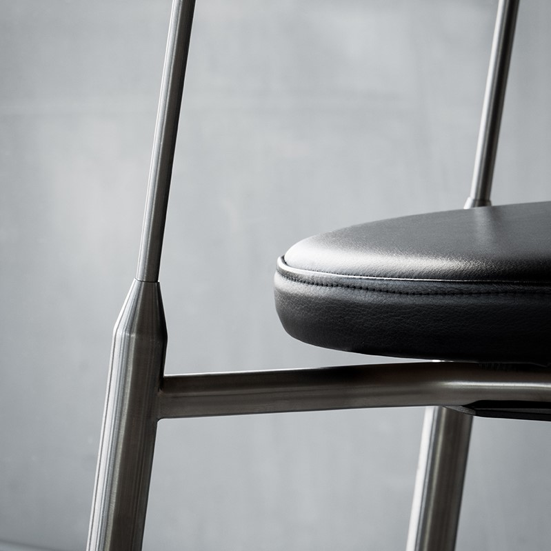 Black leather seat details