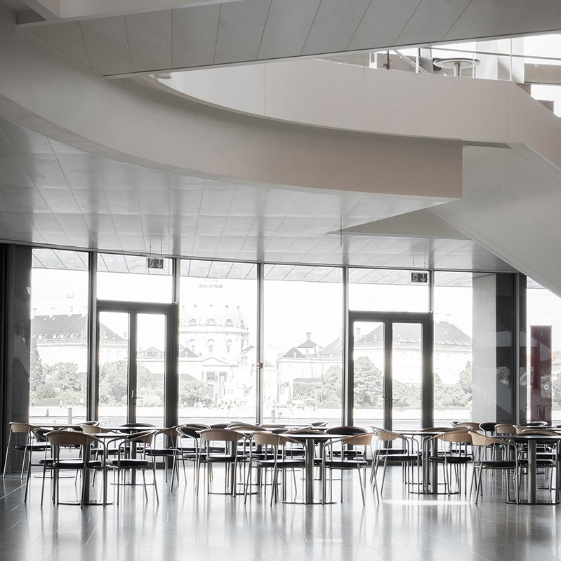 Waiting Area of the Royal Danish Opera House decorated with Chairman chairs in black leather