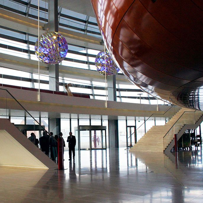 Royal Danish Opera House foyer with round sculptures