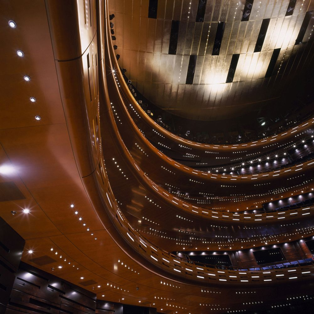 Gold ceiling in the main auditorium of the Royal Danish Opera House