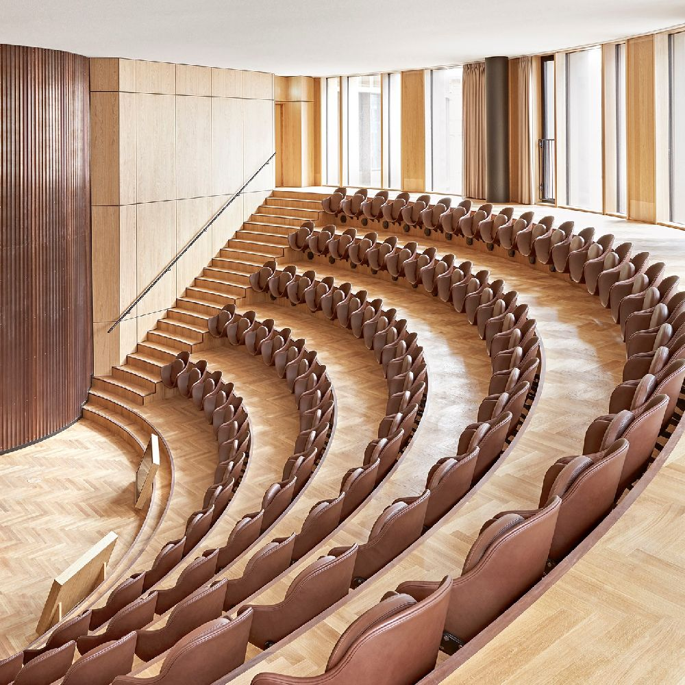 Auditorium with brown leather seats crafted in Sørensen Leather