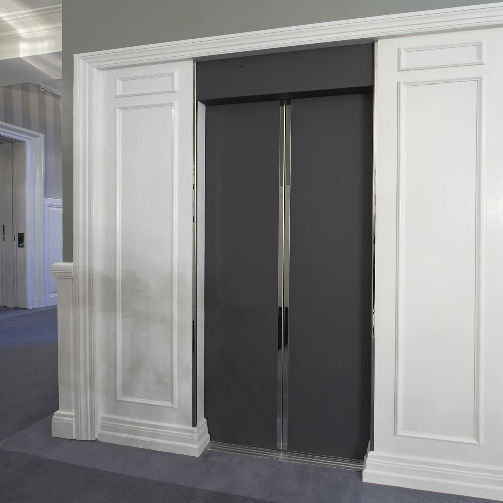 Elevator inside with D'Angleterre Hotel Copenhagen with Sørensen Leather SAVANNE / Anthrazite fronts