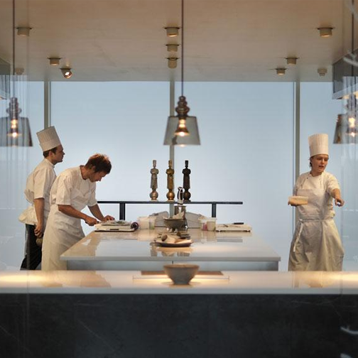 Geraniun kitchen chef Rasmus Kofoed on the left & staff.