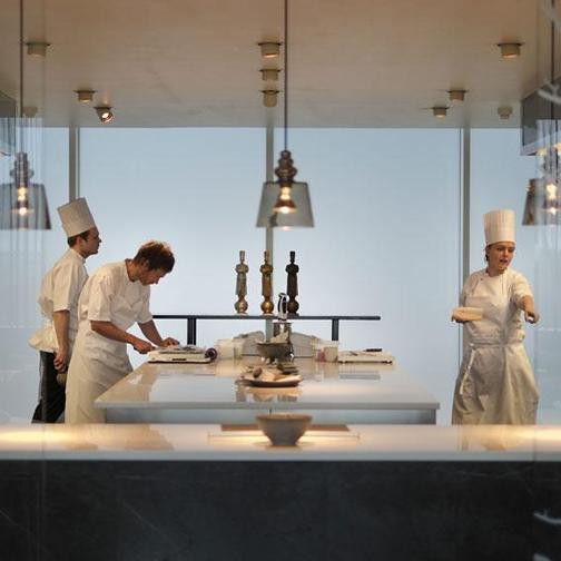 Geraniun kitchen chef Rasmus Kofoed on the left & staff.