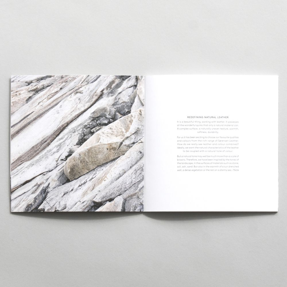 Inside 20 x Sørensen Colour Booklet with image of natural stones