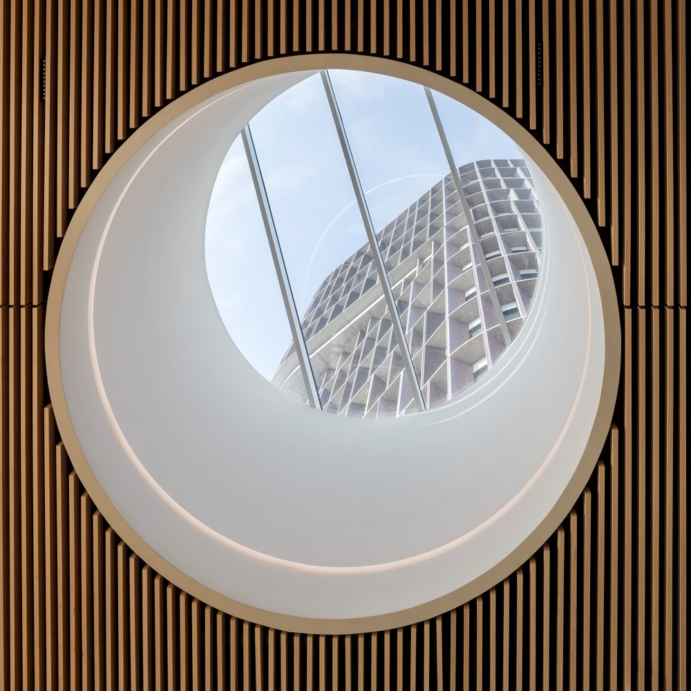 View to the Mærk Tower through a round window