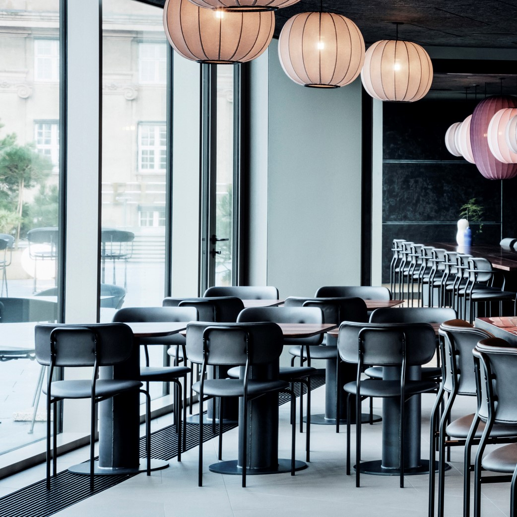 Sticks 'n' Sushi restaurant with Le Coco chairs crafted with black Sørensen Leather