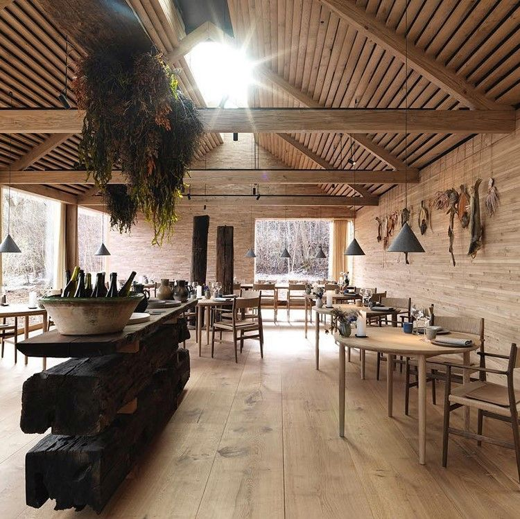 Noma restaurant with wooden walls and seating with Sørensen Leather DUNES