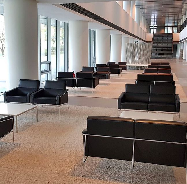 Hyundai office with black leather sofas