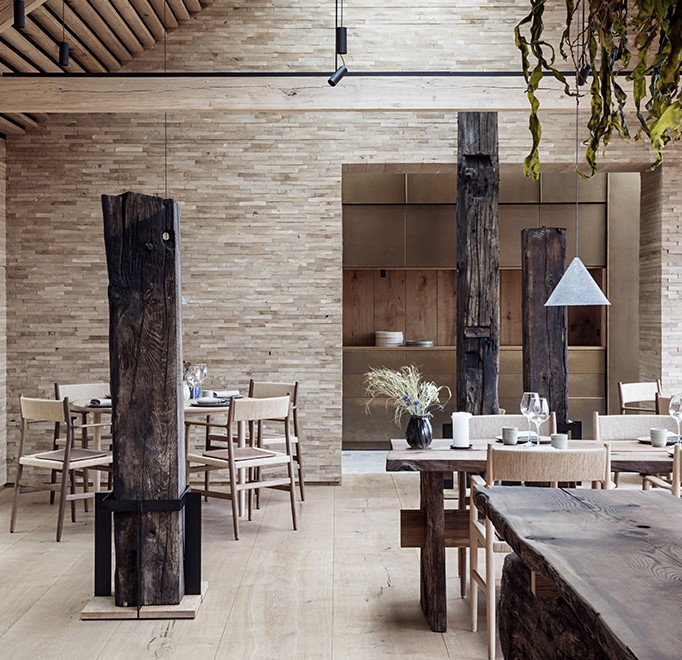 Noma restaurant with wooden interior and leather cushions crafted with Sørensen Leather DUNES