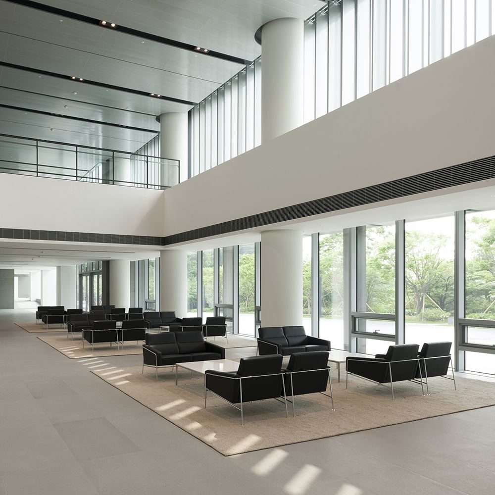 Hyundai office building with black leather sofas