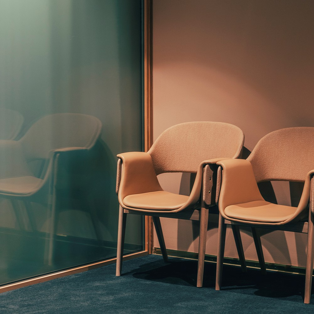 Camel coloured leather dinning chairs