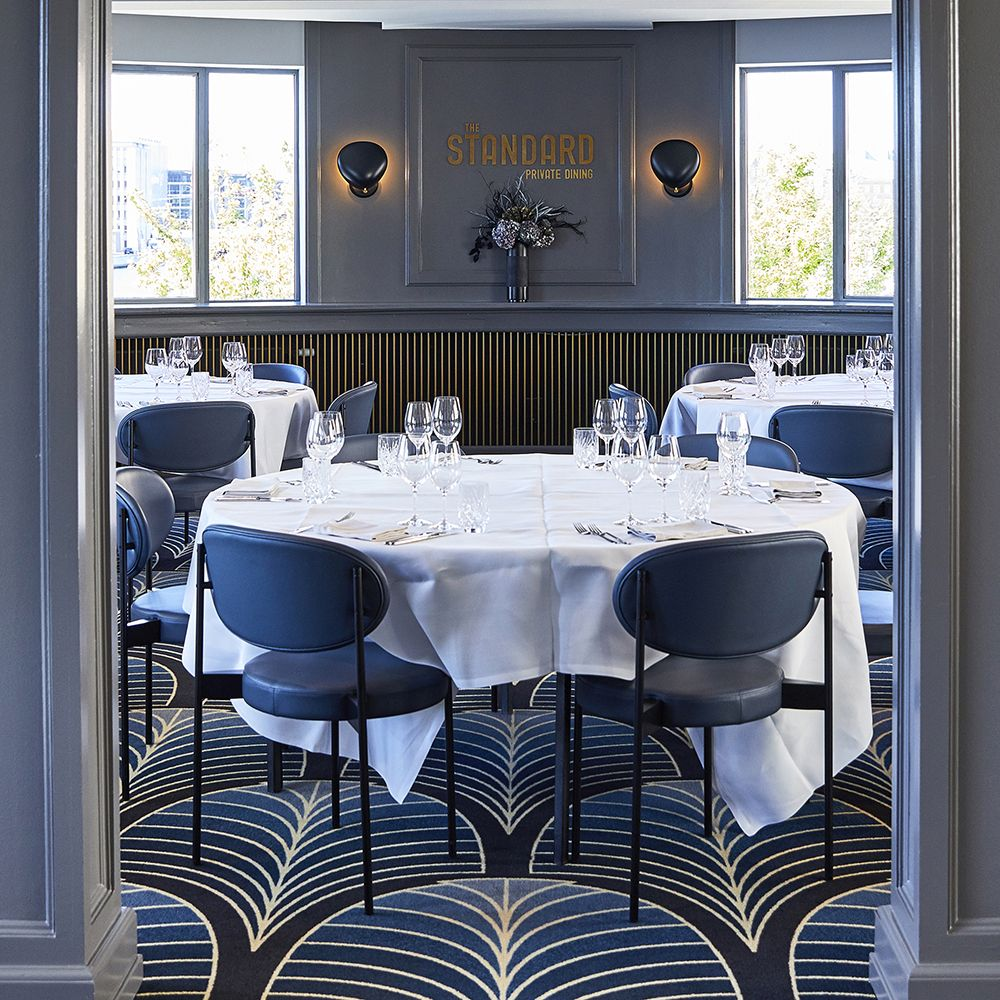 The Standard restaurant with Verner Panton's Series 430 Chair from Verpan crafted with Sørensen Leather ULTRA in black