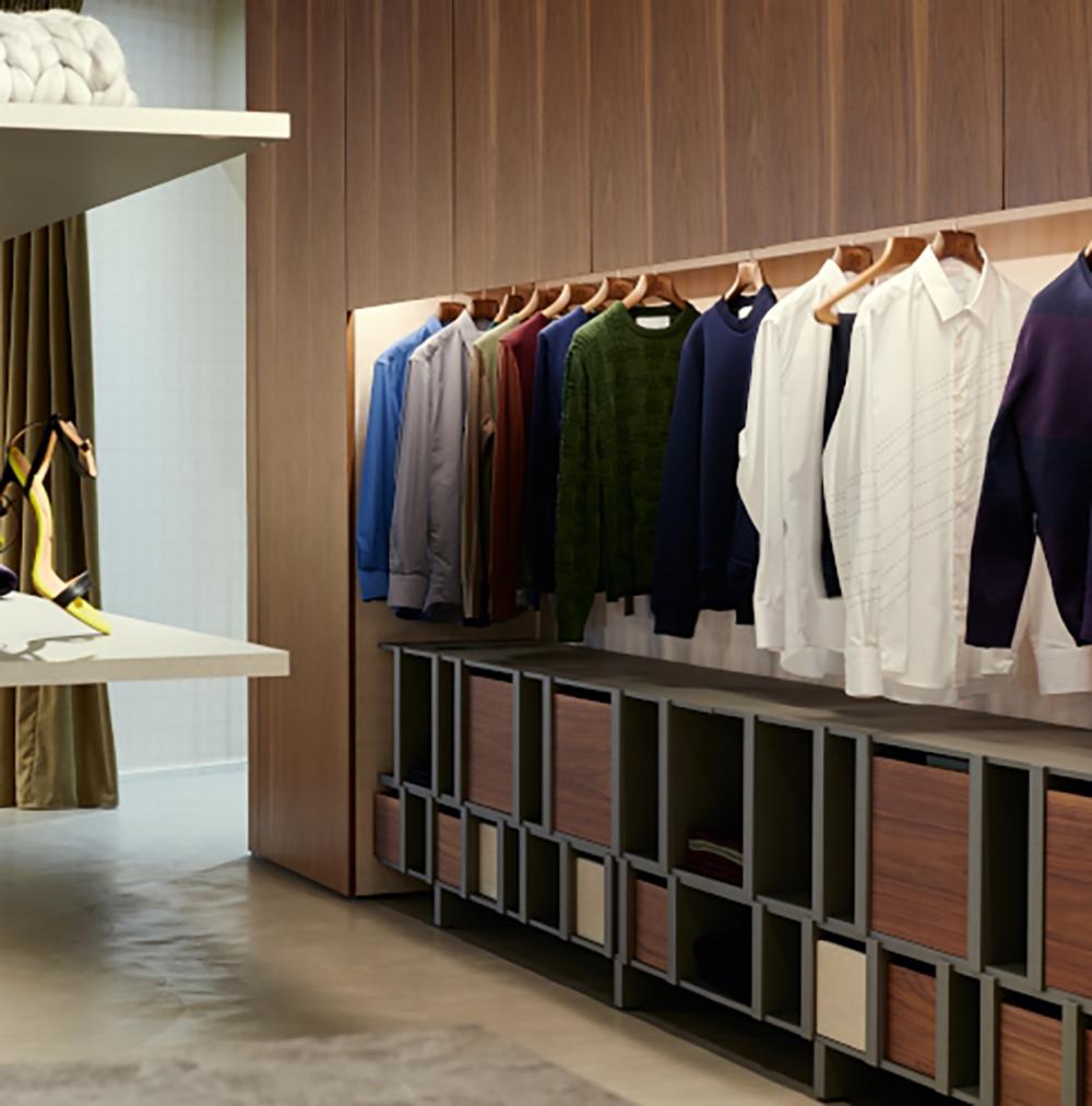 Clothing rack inside a Paris boutique