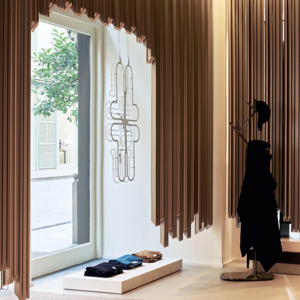 Wooden panels inside a Paris boutique