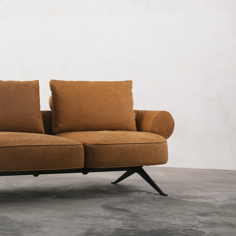 Right side of orange leather sofa
